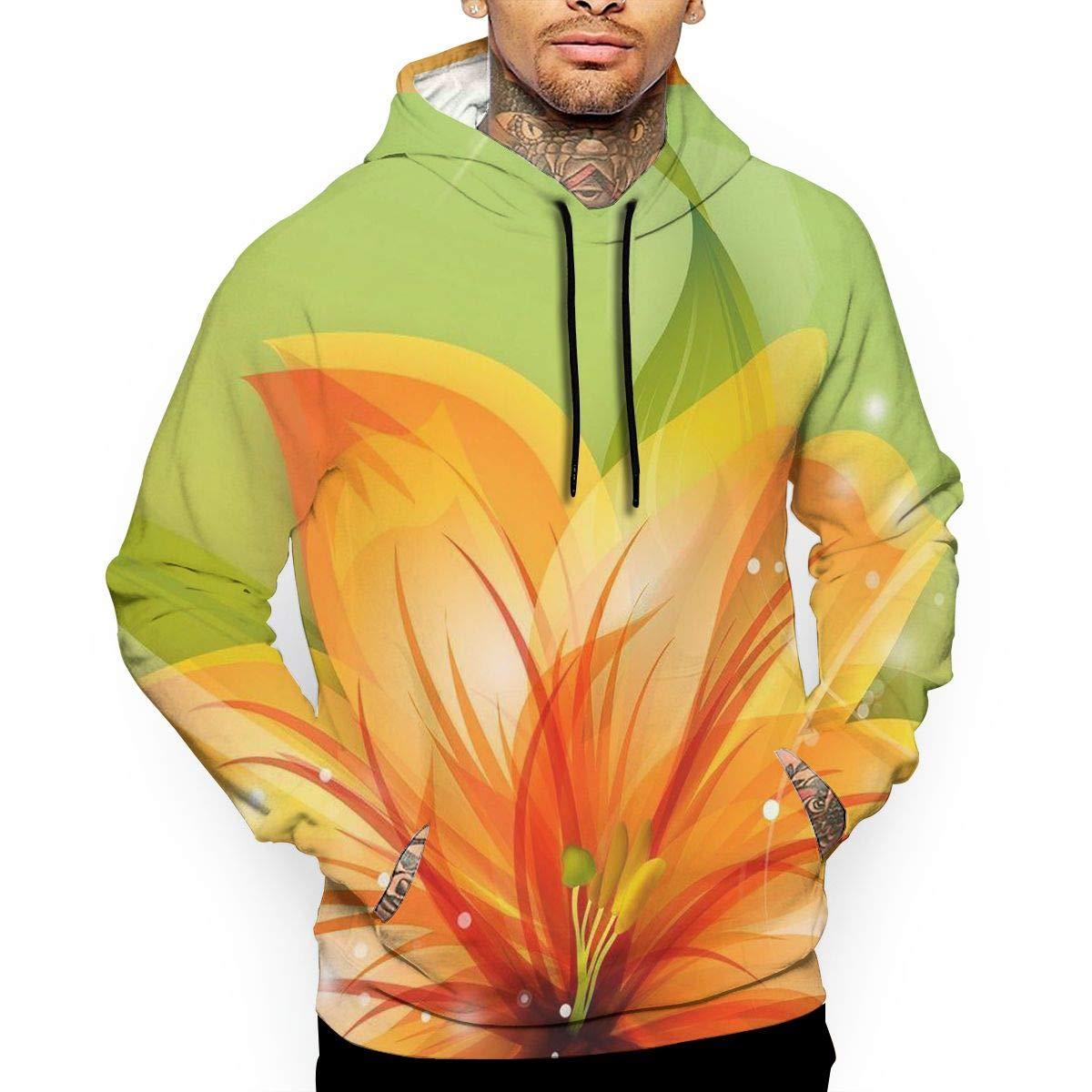 YUANSHAN Orange Lilies Mans Long Sleeve Hoodie Casual Pocket Hooded Sweatshirt