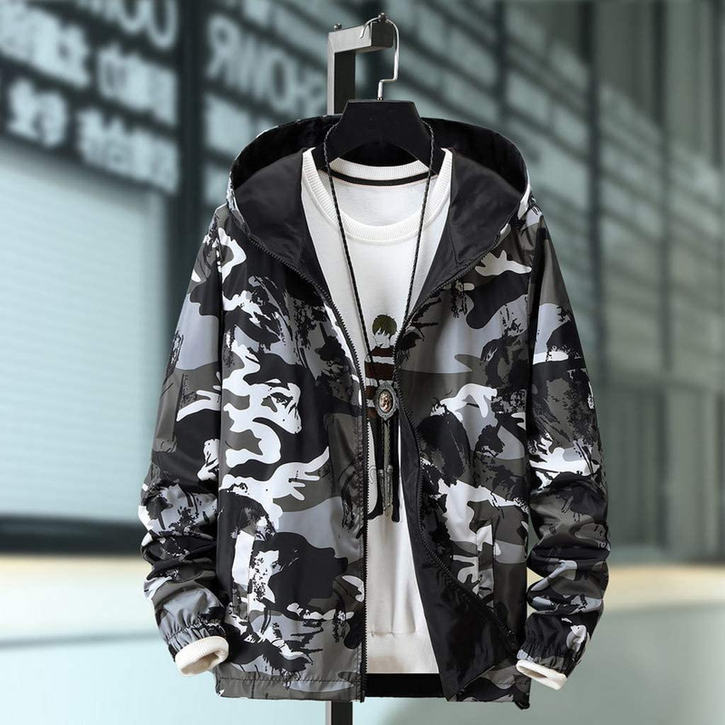 Vicbovo Clearance Mens Pullover Hooded Camouflage Hoodie Zip Up Lightweight Windbreaker Jackets Fashion Casual Outwear Coats