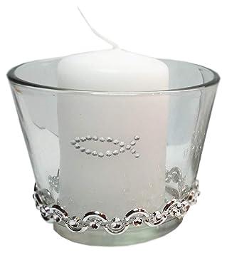 Set 3 Kerzen 3 Glaser Tischdekoration Hochzeit Taufe Kommunion
