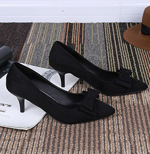 Élégant Papillon Noir Doux Chaussure noeud Chaussures heel heeled High Unique D'été Pointe 38 High Khskx gvSqwaZ
