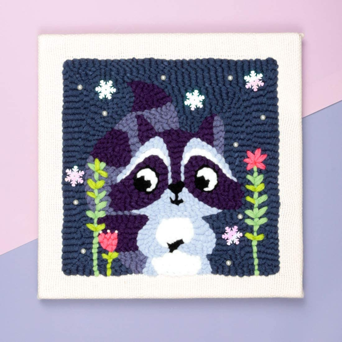 Raccoon XSHION Latch Hook Kit for Adults and Kids Needlework Craft Gift Home Decor DIY Handcraft Rug Hooking Kit Knitting Wool Embroidery Kit with Embroidery Frame and Punch Needle