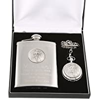 Engraved 40th Birthday Pewter Rugby Feature Mother of Pearl Pocket Watch and Hip Flask Gift Set