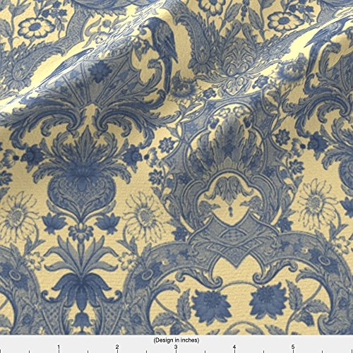Spoonflower Damask Fabric Parrot Damask ~ Provencal ~ Small by Peacoquettedesigns Printed on Cotton Poplin Ultra Fabric by the (French Provencal Decor)