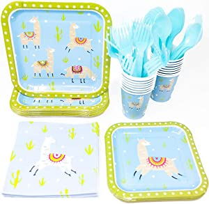 Blue Orchards Llama Party Supplies Packs (113+ Pieces for 16 Guests!), Llama Birthdays, Llama Tableware and Paper Plates