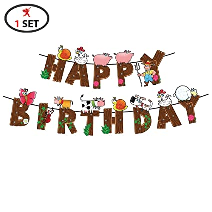 Party Propz Farmhouse Theme Happy Birthday Banner For Barnyard Decoration