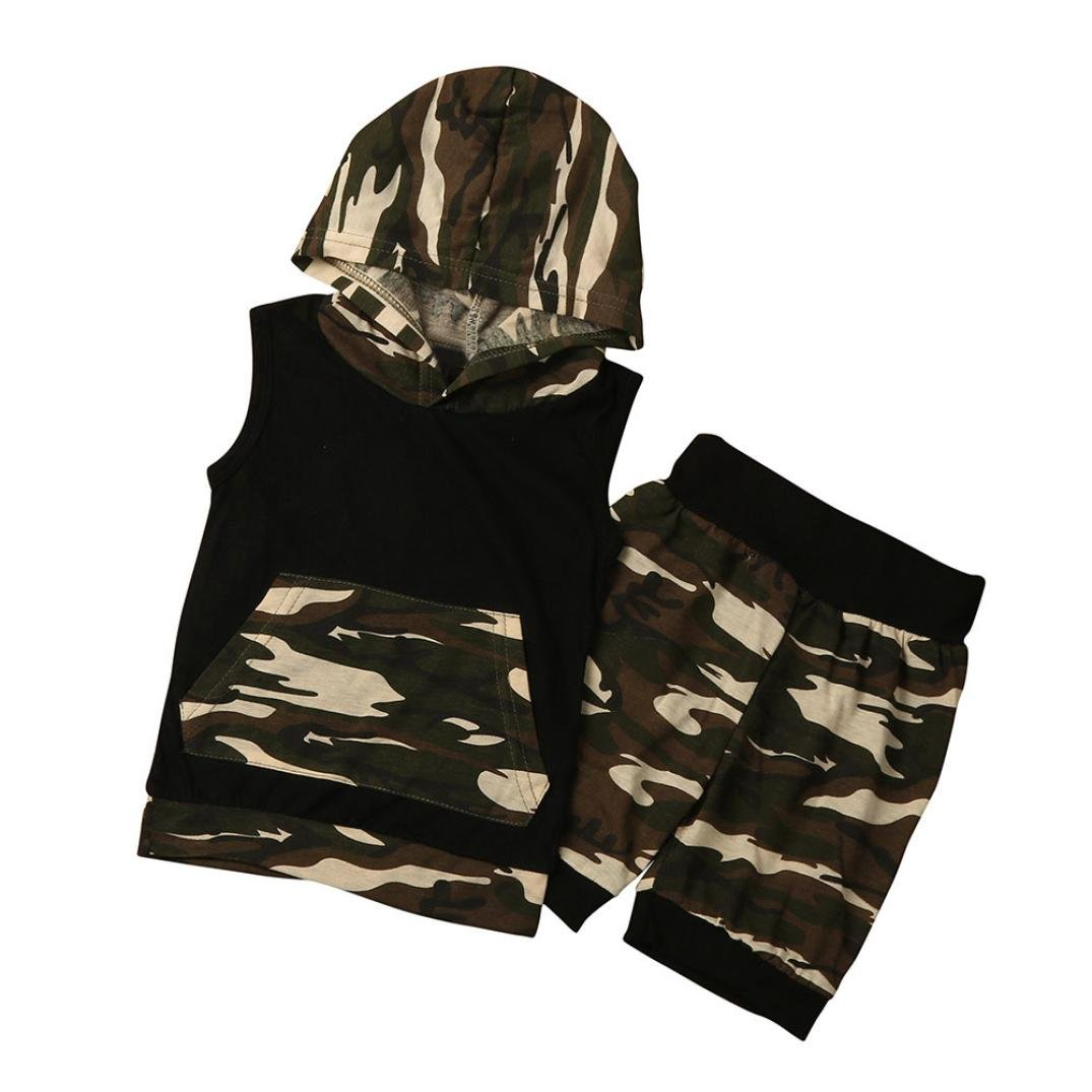 SUPPION Kids Baby Boys Camouflage Hooded Shirt Tops+Shorts Pants 2PC Set Clothes