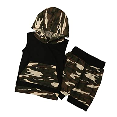 2pc Infant Kids Boys Camouflage Outfits Hooded Zipper Coat+Tops+Pants Casual Set