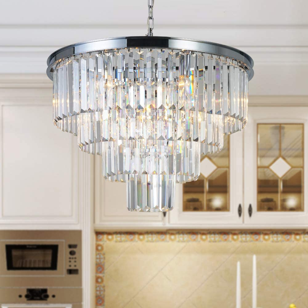 MEELIGHTING Chrome Crystal Modern Contemporary Chandeliers Pendant Ceiling Light 4-Tier Chandelier Lighting for Dining Room Living Room Bedroom Girls Room 9 Lights Dia 23.6