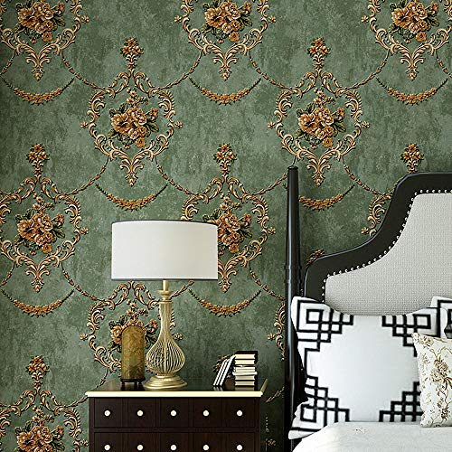 (Blooming Wall Textured Vintage Damasks Floral Pattern Wallpaper Wallcoverings for Walls, 57 Square ft/Roll (Green(Flower)))