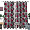 RenteriaDecor Teen Room Blackout Window Curtain Abstract Geometric Minimalist Lines and Square Cubes Artful Print Customized Curtains W72 x L96 Magenta Black and White