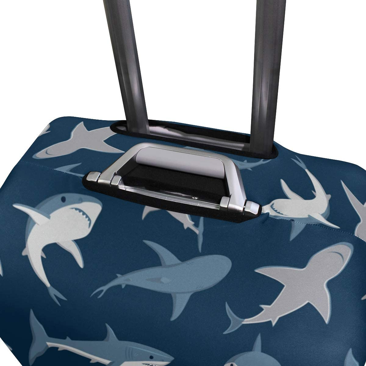 FOLPPLY Ocean Shark Pattern Luggage Cover Baggage Suitcase Travel Protector Fit for 18-32 Inch