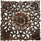 Asiana Home Decor Rustic Wall Art- Wood Plaque Oriental Carved Lotus in Brown Finish, Size 12
