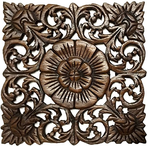 Asiana Home Decor Rustic Wall Art- Wood Plaque Oriental Carved Lotus in Brown Finish, Size 12″x12″x0.5″