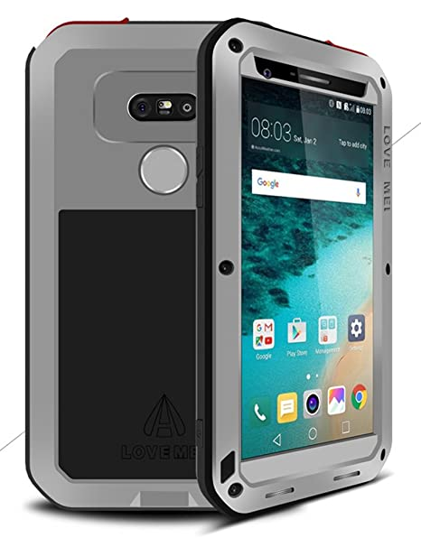 LOVE MEI Carcasa para LG G5, Impermeable a Prueba de Golpes a Prueba de Polvo de Metal de Aluminio con Vidrio Templado Cubierta * años de garantía *