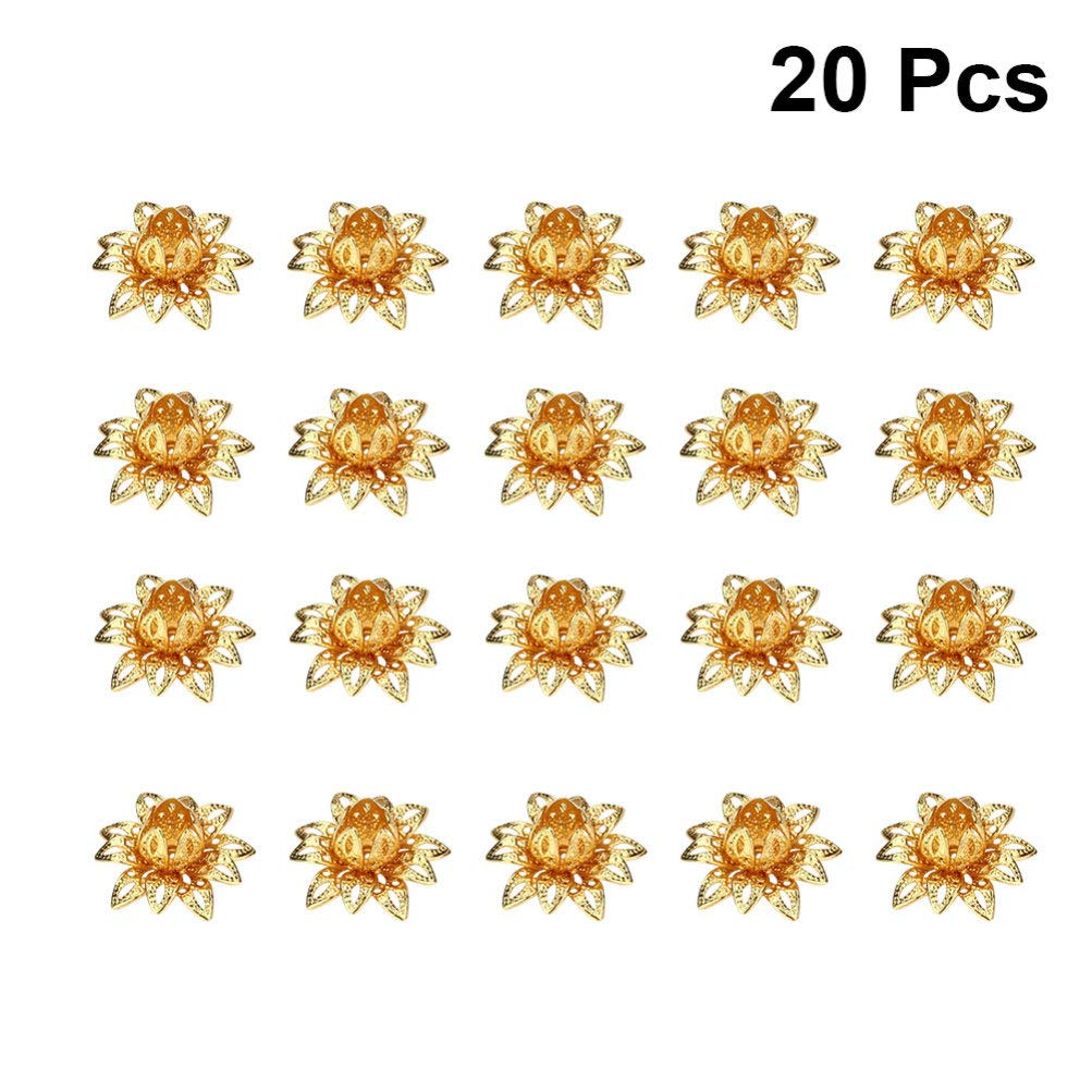 SUPVOX 20pcs Lotus Flower Bead Caps for Jewelry Making Vintage Flower Spacer Beads Spacer End Caps Rose Gold