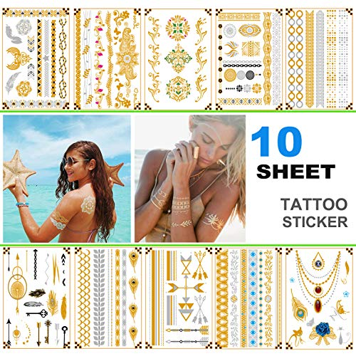 Metallic Temporary Tattoos,Glitter Shimmer Designs Jewelry Tattoos,10 Large Sheets Gold Silver Glitter,80+ Color Flash Fake Waterproof Tattoo Stickers-For women,Guys, Kids
