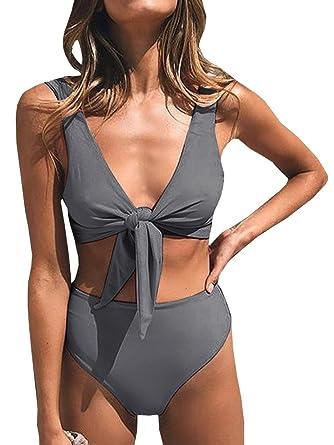 9875085c6edf9d Gemijacka Damen High Waist Bikini Push Up Bademode Gepolstert Triangel  Strand Badeanzug