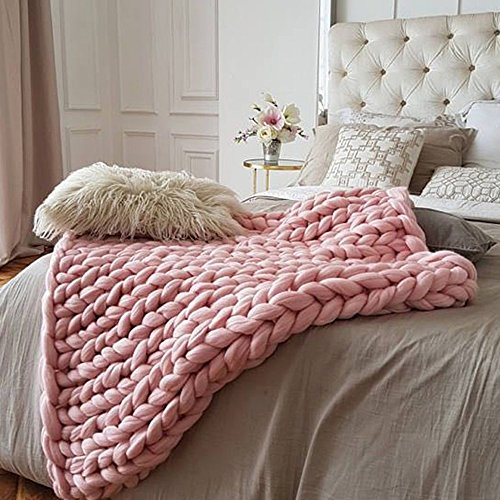 47x59in chunky knit blanket light pink blanket chunky knit chunky throw chunky blanket giant. Black Bedroom Furniture Sets. Home Design Ideas