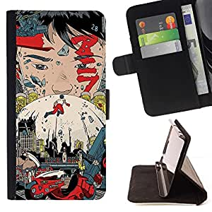 For LG OPTIMUS L90 Akira Poster Beautiful Print Wallet Leather Case Cover With Credit Card Slots And Stand Function