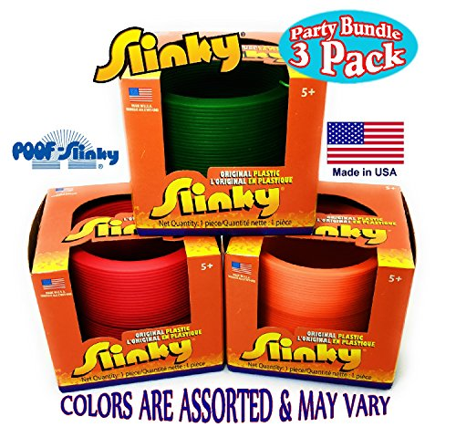 Poof Slinky Original Plastic Slinky Gift Set Party Bundle - 3 Pack (Assorted Colors) by Poof Slinky