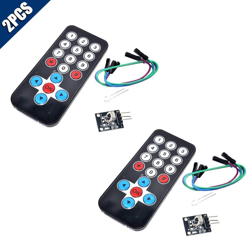 Remote Control + Receiver Board KOOBOOK 2Pcs Infrared IR Wireless Remote Control Sensor Module Kits for Arduino