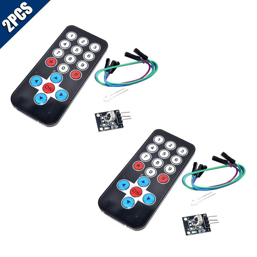 KOOBOOK 2Pcs Infrared IR Wireless Remote Control Sensor Module Kits for Arduino Remote Control + Receiver Board