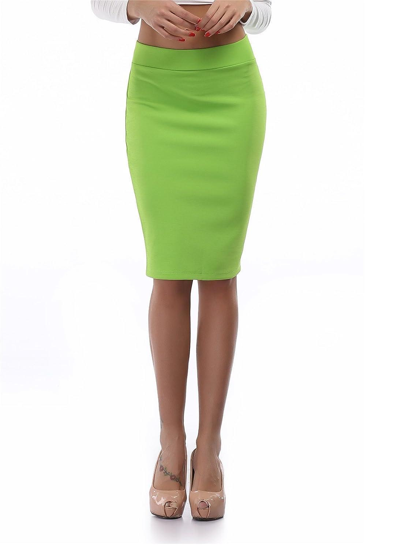 cheapestbuyレディースハイウエストボディコン鉛筆スカートよく伸びるShort Fitted Miniスカートピュアカラー B01LYKHXAU 5L|フルーツグリーン フルーツグリーン 5L