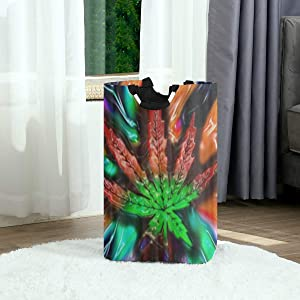 DAOPUDA Laundry Bag Trippy Multi Color Marijuana Leaf Weed Large Laundry Hamper Bags for Heavy-Duty Use with Strap,Standing Clothes Basket Collapsible for Dorm Travel Bathroom