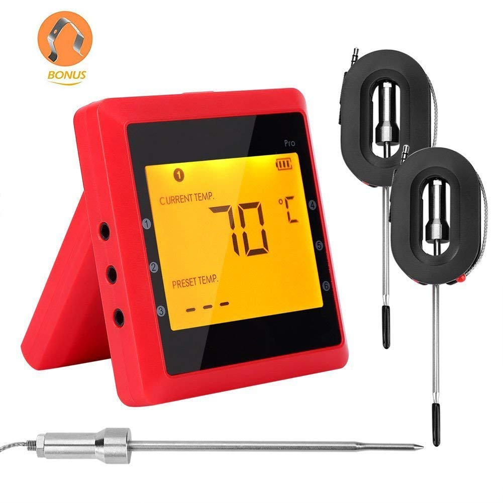 Bluetooth BBQ Thermometer, Wireless Barbecue Thermometer Digital Meat Temperature Monitor Food Meat Kitchen Cooking Remote Control Bluetooth Monitoring Device with Dual Probe for Smart Phone DOSHOP