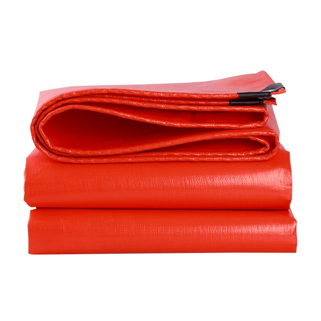 Tarpaulin Heavy duty waterproof strong red tarpaulin covering for camping, fishing, gardening and pets - thick, UV resistant, corrosion resistant, tear resistant, with gasket and reinforced edges