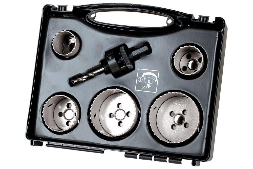 54 74 /ø 40 86 mm 65 Wolfcraft 5423000 Set di Seghe a Tazza Elettricit/à in Valigetta in Plastica 68