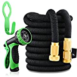 Image of Garden Hose 50ft Expandable Hose Strongest with 10 Settings Spray Nozzle Solid Brass Connector Double Latex Core Flexible Garden Hose Water Hose Nozzle Hose Gun for Shower Watering Washing