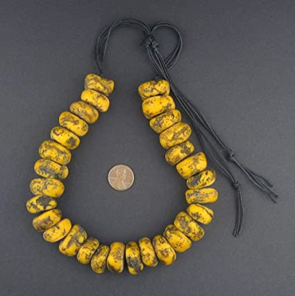 amber resin beads 10 large African yellow vintage