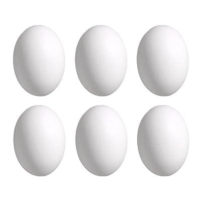 Andux huevos de Pascua de madera falsos huevos paquete de 6, los niños juegan juego de cocina juguetes de alimentos MZJJD-01 (Blanco): Hogar