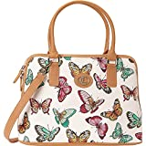 Aurielle-Carryland Butterfly Print Dome Satchel (Multi)