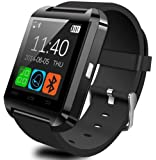Wavefull Mobile SmartWatch U8 Montre Sport Bluetooth 3.0 Bracelet en Silicone pour smartphone IOS Apple iphone 4/4S/5/5C/5S/6 Android Samsung S2/S3/S4/Note 2/Note 3 HTC Nokia Noir
