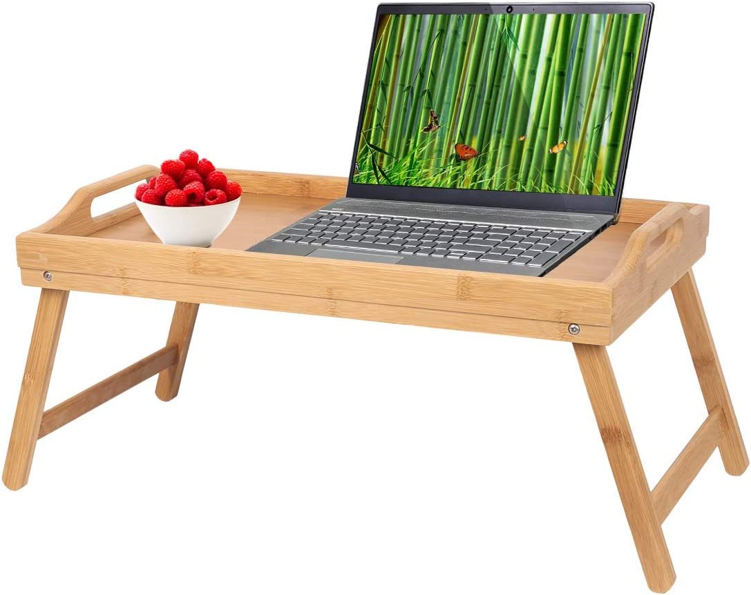 Breakfast Tray Table with Handles Folding Legs Bed Tray Bamboo TV Laptop Computer Platters Decoration Serving Tray Wood Kitchen Snack Tray (Beige)