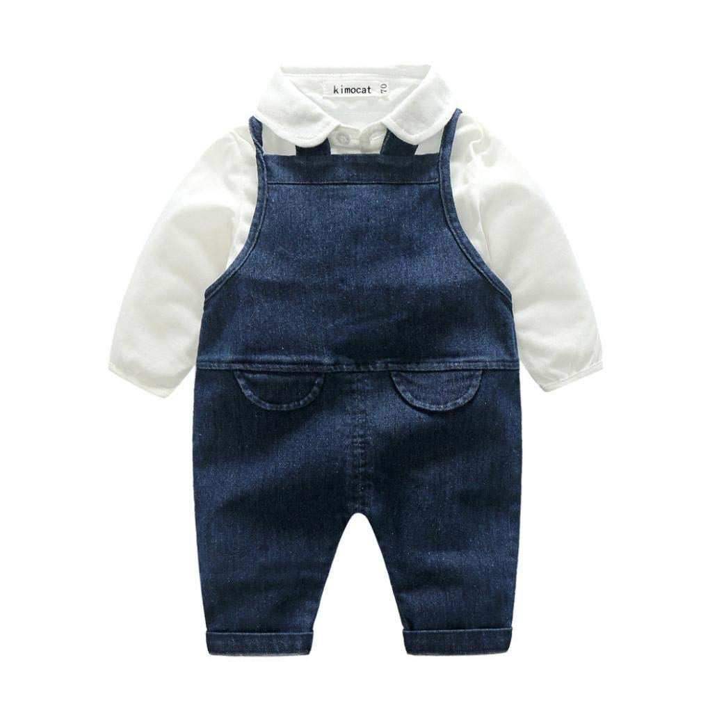 FIged baby gentleman Toddler boys Denim Suspenders Pants Outfits Clothes Sets (Blue, 6M-12M)