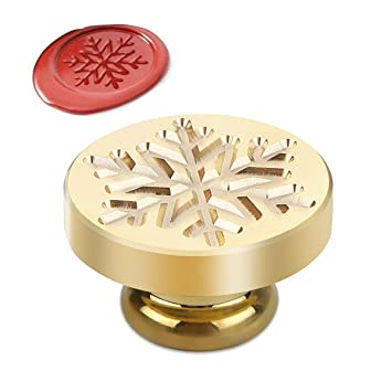 Powstro Retro Christmas Wax Seal Brass Stamp Head Alphabet Wax Sealing Stamps Set Creative Romantic Stamp Maker (Snow Head)