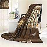 YOYI-HOME Digital Printing Duplex Printed Blanket Gothic Room for Study in Medieval Library with Cat Sleeping on Window Antique Mansion Taupe Summer Quilt Comforter /W31.5 x H47