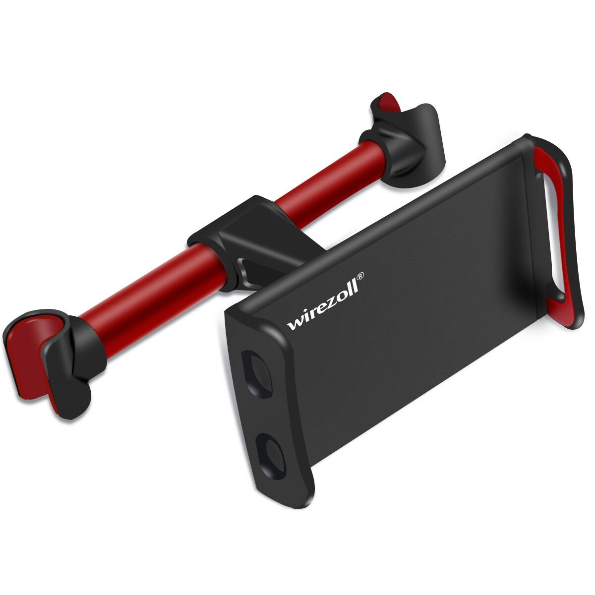 """Car Headrest Mount, Wirezoll 360° Rotation Adjustable Car Seat Tablet Holder for iPad/Samsung Galaxy Tabs/Amazon Kindle Fire HD/Nintendo Switch/Other Devices 4""""-10.1"""" (Red)"""