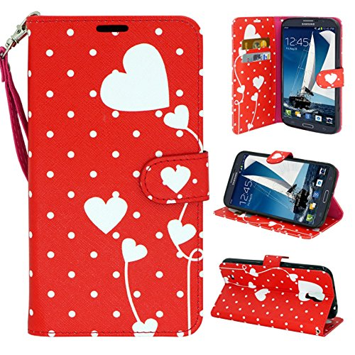 Galaxy Mega 1st Generation, Flip Wallet Design Case Cover, Customerfirst Cover Folio Stand for Samsung Galaxy Mega 6.3 (I9200) (Dotted Heart) -