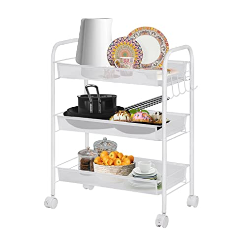LANGRIA All Purpose Shelving, 3 Tier Serving Trolley, Metal Mesh Storage Units, Sturdy Rolling Cart, Suitable for Kitchen, Home, Office, White