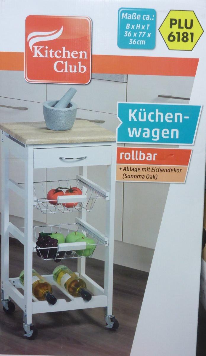 Küchenwagen rollbar Ablage Eichendekor Küche 36x77x36cm: Amazon.de ...
