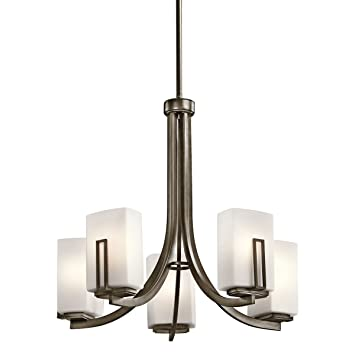 Kichler lighting 42426swz leeds 5 light chandelier shadow bronze kichler lighting 42426swz leeds 5 light chandelier shadow bronze with satin etched cased aloadofball Choice Image