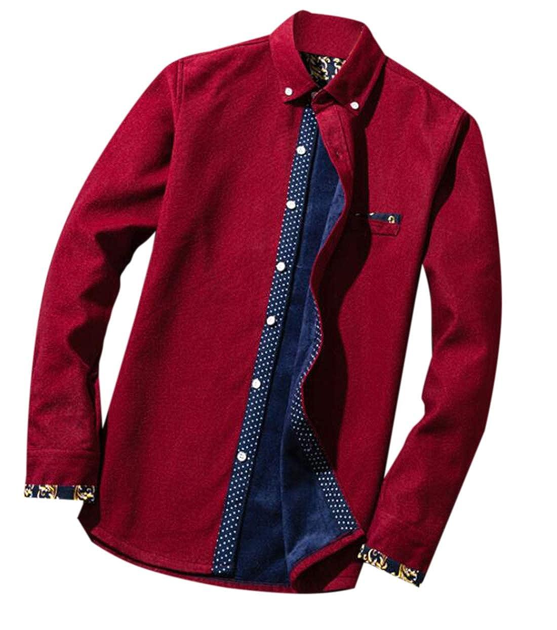 Twcx Men Lapel Thicken Warm Casual Button Up Fleece Lined Solid Color Corduroy Shirt