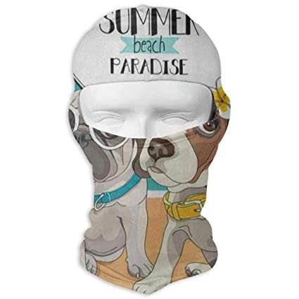 40a1fdf9849 Amazon.com   Lisang Pug Puppy Dog Flower Full Face Masks UV ...
