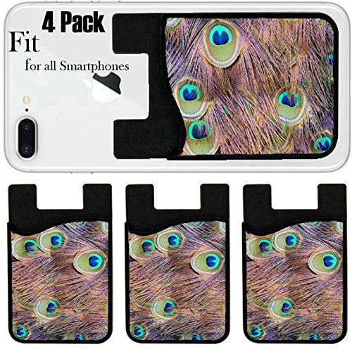 Liili Phone Card holder sleeve/wallet for iPhone Samsung Android and all smartphones with removable microfiber screen cleaner Silicone card Caddy(4 Pack) Background with patterns made of peacock feat (Feat Card)
