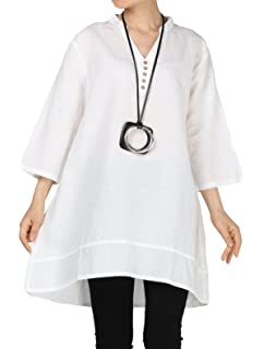 b0e3d908659a3 Mordenmiss Women s Cotton Linen Blouse V-Neck Tunic Tops 3 4 Sleeve Shirt  Clothing