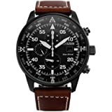 Citizen Men Eco Drive (Solar Powered), Aviator Design, Stainless Steel, Date Display, Chronograph and Water Depth Resistant (100m), Black Dial & Brown Strap, CA0695-17E